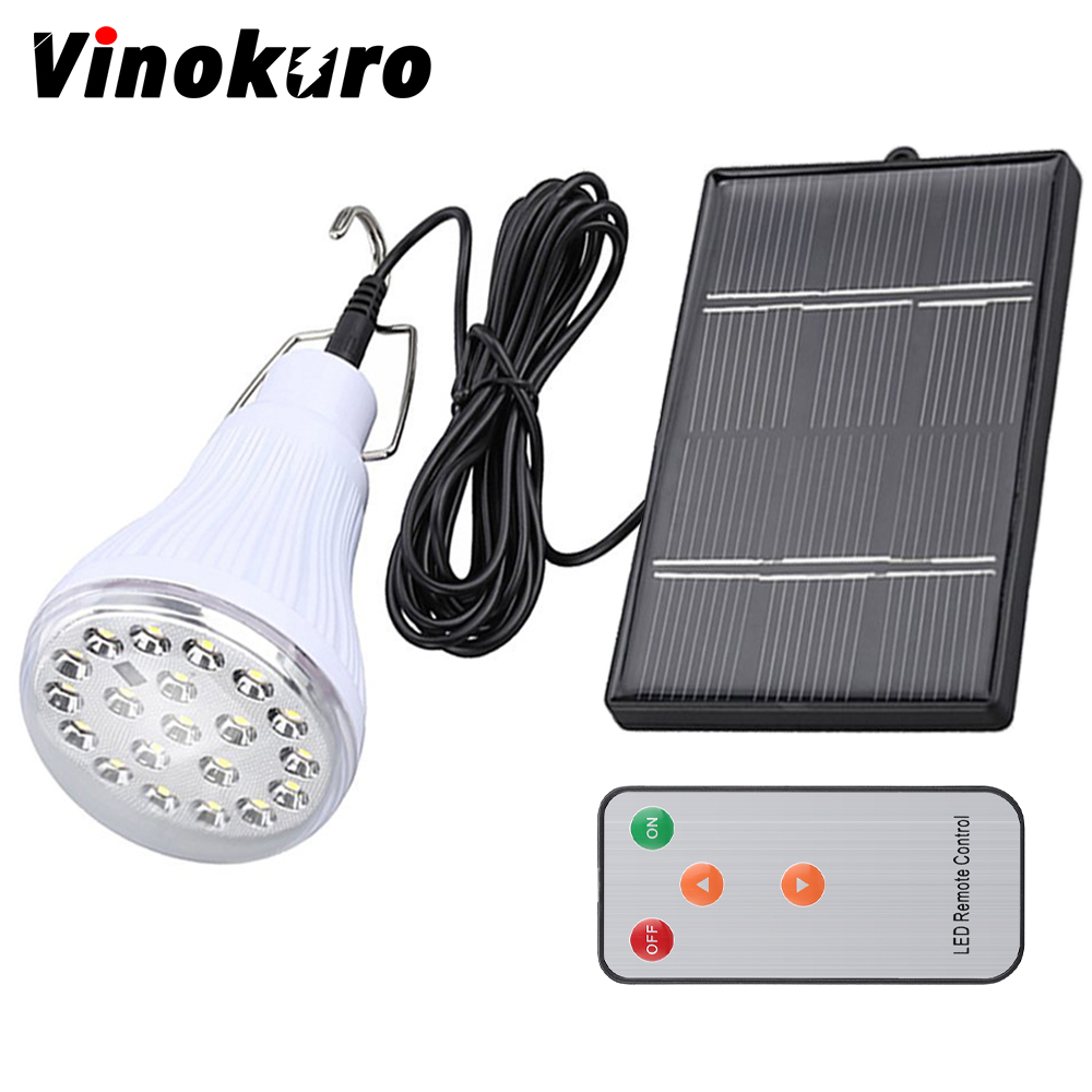 Vinokuro Lighting Dimmable DC6V 20 Led 2.5W Remote Control Solar Lamp Emergency Outdoor Lighting Camping Lights 1W Solar Panel zuke rechargeable outdoor solar light dimmable e27 led bulb lamp remote control indoor reading lighting camping night light