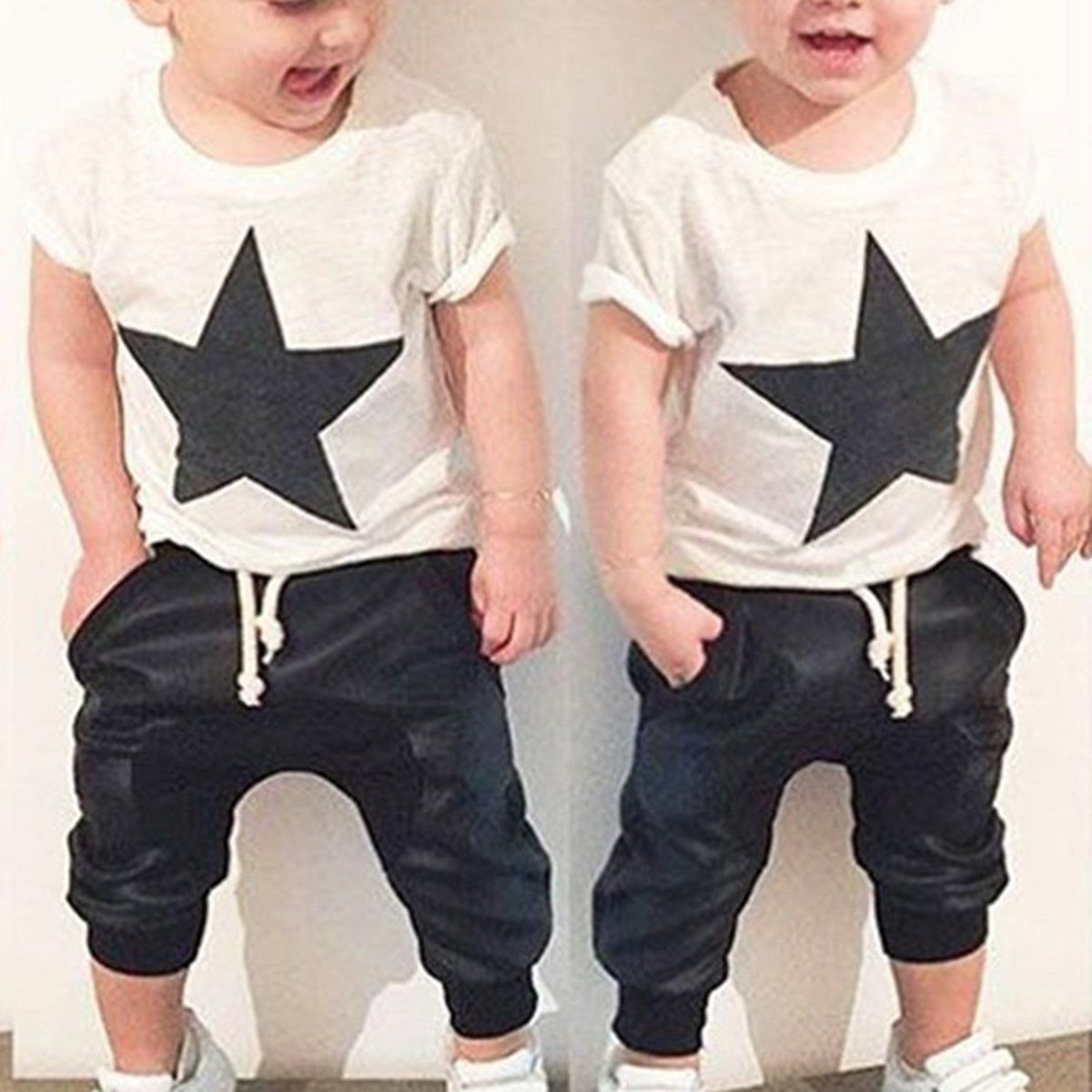 2 Pcs Casual Summer Toddler Infant Kid Newborn Baby Boys Star T Shirt Clothes T Shirts Tops Drawstring Pants Suit Outfits Set number series no 5 print toddler boy shirts 2016 baby boys t shirt brand designer t shirt summer boys clothes children s tops