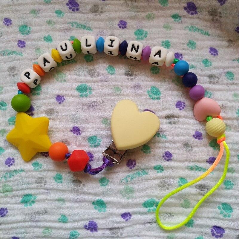 Купить с кэшбэком Chenkai 10pcs Silicone Heart Clips DIY Baby Teether Pacifier Dummy Montessori Sensory Jewelry Teething Holder Chain Toy Clips