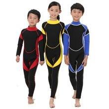 Neoprene mangas compridas wetsuits ternos de mergulho para meninos/meninas crianças rash guards um pieces surf nadar snorkel criança #292553
