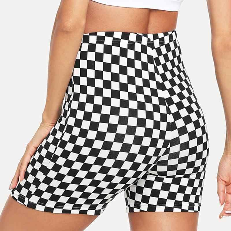 2019 lato czarny biały pled szorty Plus rozmiar kobiety Sexy Push Up krótkie spodenki streetwear spodenki na co dzień dla kobiet