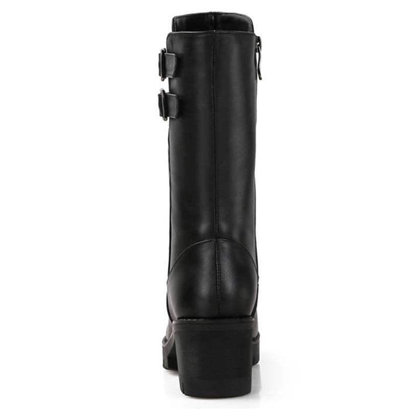 Zapatos Caliente Negro Invierno Moda Redonda Pantorrilla De Mujeres Genuino Cuero Natural Señoras Punta Morazora Nieve Plataforma 2018 Lana Botas Medio zZHTwn7