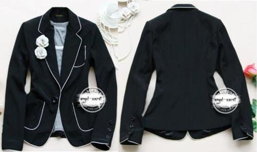 b8eb6374ee8 PS82 WOMENS TUX BLAZER BLACK COTTON white piping NWT-in Basic ...