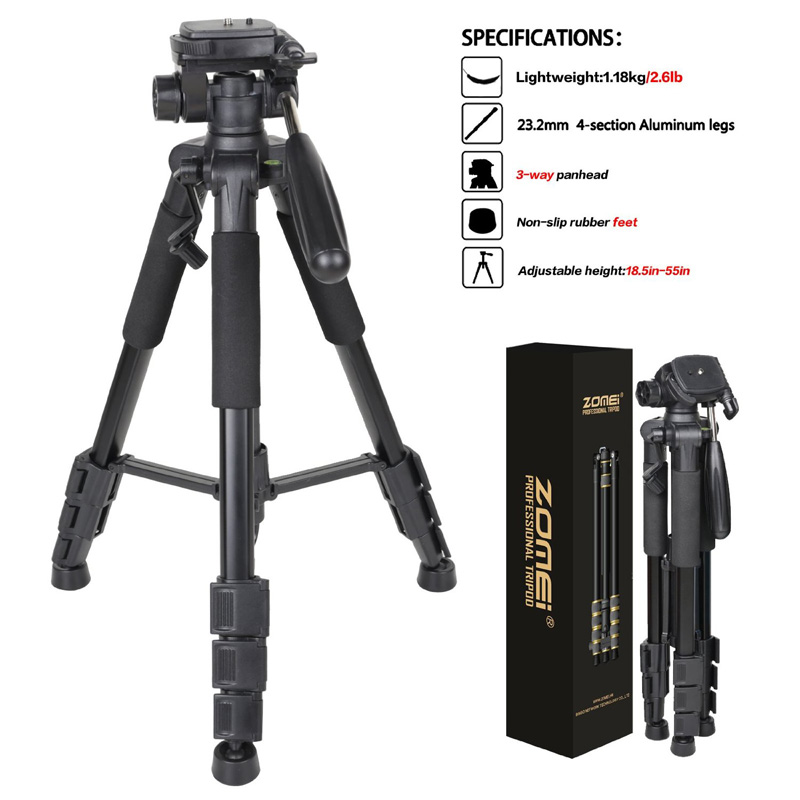 ZOMEI Q111 Camera Tripod Professional 55inch Aluminium Tripods Camcorder Stand with PanHead Plate For DSLR Canon Nikon Sony maybelline new york мягкий гелевый карандаш для глаз gigi collection бежевый 1 1 г