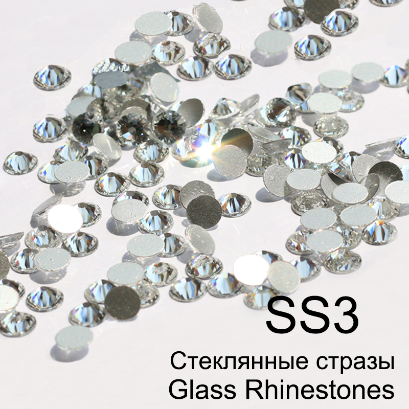 SS3 Crystal Non Hotfix 3D Nail Art Glass Rhinestones With Round Flatback For Nail Art Dancing Dress And Phone Case 1440pcs/pack ss3 ss30 jet black ab nail art rhinestones with round flatback for nails art cell phone and wedding decorations