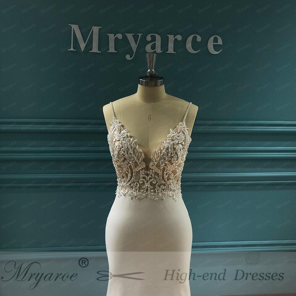 Image 3 - Mryarce Unique Bridal Crepe Mermaid Gowns Spaghetti Straps Lace Beading Open Back Wedding DressesWedding Dresses   -