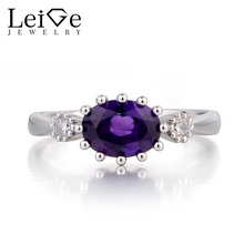 Leige Jewelry Wedding Ring Real Natural Amethyst Ring February Birthstone Oval Cut Purple Gems Solid 925 Sterling Silver Ring