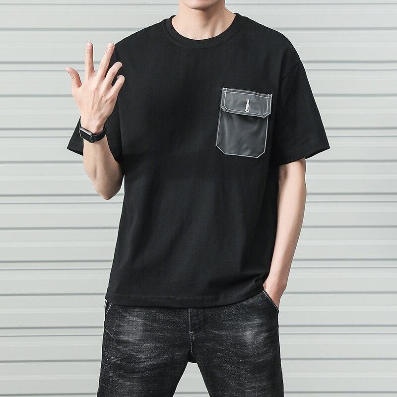 2019 Summer Harajuku Cotton Men T-shirt Short Sleeve Fashion Pocket Slim Fit T Shirts O-Neck Hip Hop Streetwear Men's T-shirt