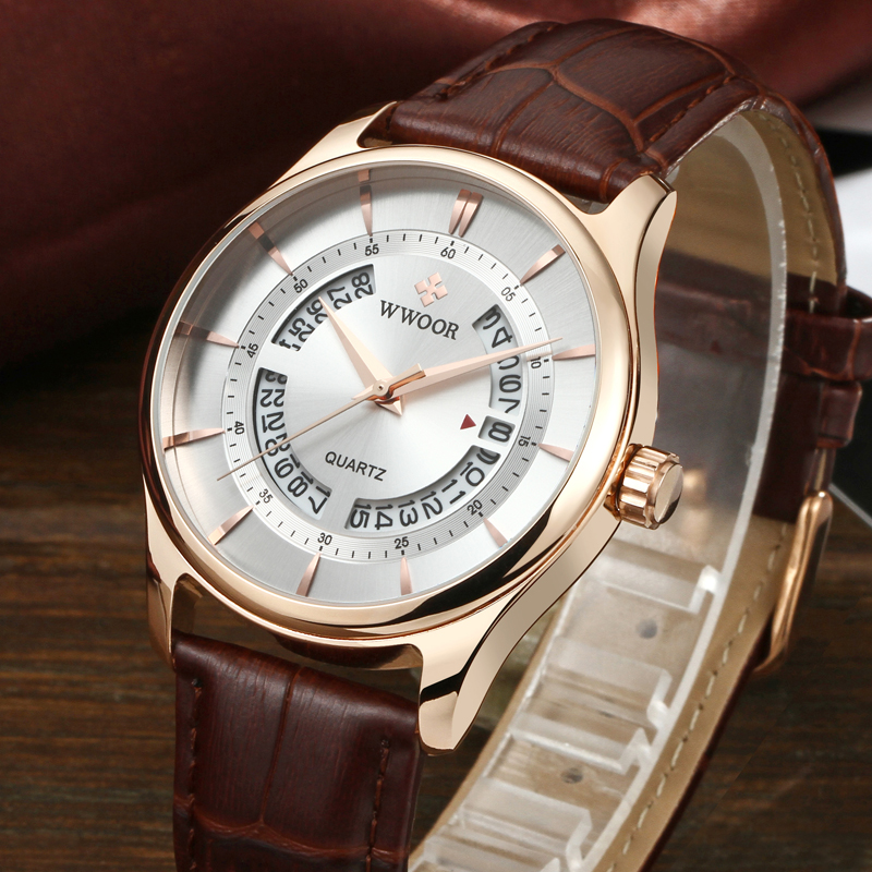 2018 WWOOR Men Watches Top Brand Luxury Hollow Date Waterproof Analog Clock Man Leather Strap Quartz Watch Men Sport Wrist Watch все цены