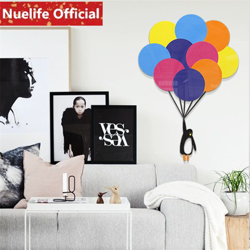 Autour du ciel petit pingouin ballon 3D acrylique stickers muraux chambre enfants chambre maternelle fond stickers muraux N4