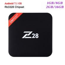 Lo nuevo RK3328 64-bit Z28 TV Box Android 7.1 Rockchip Quad Core 1 GB/8 GB 2 GB/16 GB 4 K x 2 K USB 3.0 2.4G WiFi 4 k reproductor Multimedia Inteligente
