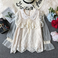 Blouse New Lace Shirt Korean Bow Gauze Doll Collar Long Sleeve Elegant Womens Tops and Blouses E857