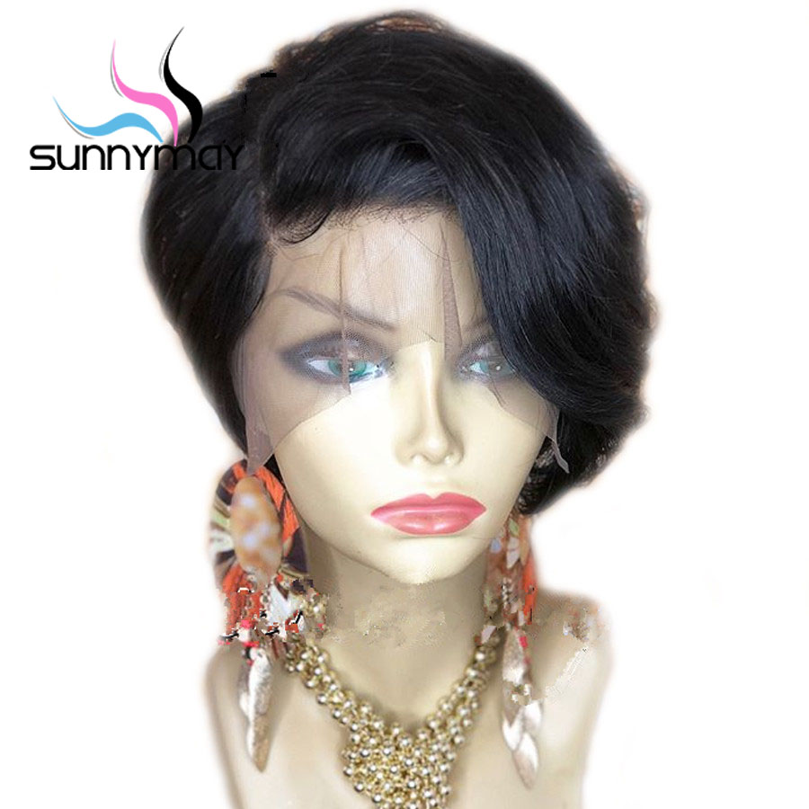 Sunnymay Short Lace Front Wigs Pre Plucked 130 Brazilian Remy Hair Lace Front Human Hair Wigs