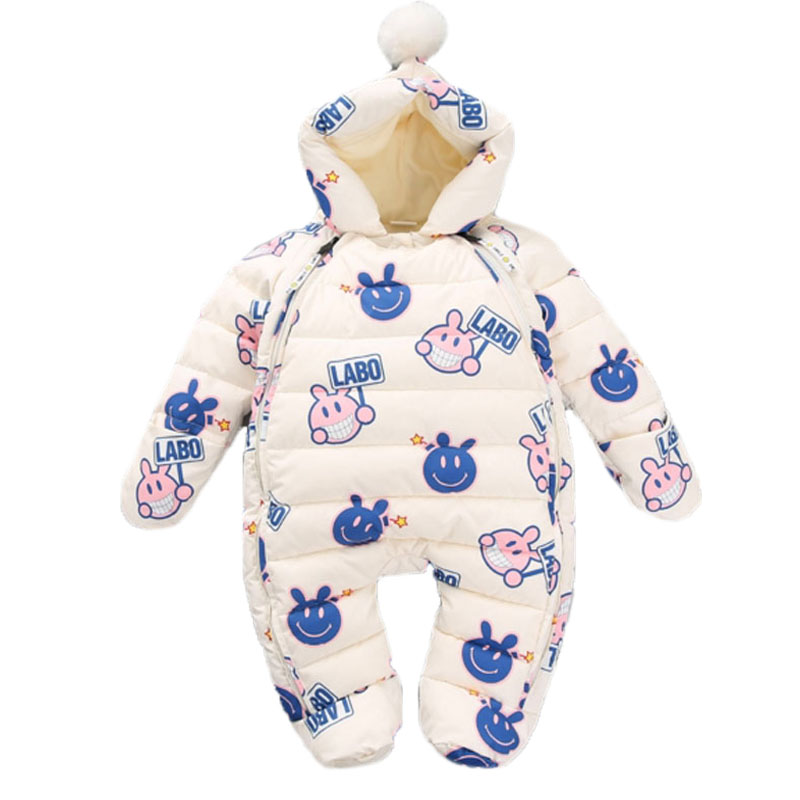 Baby Snowsuits Hooded Jumpsuit Down Cotton Jacket Boys Girls Clothing Warm Coats Cartoon Kids Clothes Infantil Rompers Overalls стоимость