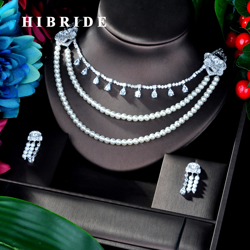 HIBRIDE Luxury 3 layer Pearl And AAA Cubic Zircon Women Bridal Jewelry Sets For Party Accessories