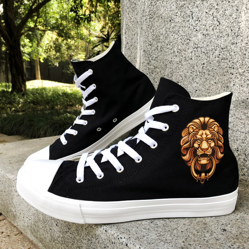 Wen Original Design Canvas Shoes Chinese Element Style Lion Head Door Holder High Top Sports Sneakers Skateboarding Shoes