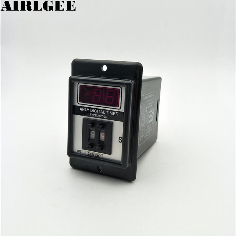 Black DC 24V Power on Delay Timer Time Relay 0.1-9.9 Second 8 Pins ASY-2D zys1 asy 3d ac220v power on delay timer time relay 1 999 seconds