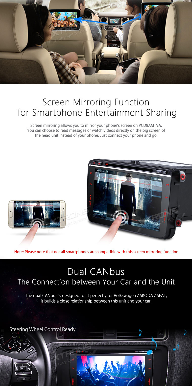 8″ Touch Panel Design Android 6.0 OS Special Car DVD for Seat Altea 2004-2015 & Seat Leon 2005-2013 & Seat Alhambra 2010-2016
