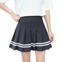 S 4XL Women High Waist JK Denim Mini Skirts 2017 Preppy Style Students Pleated Uniform Skirt