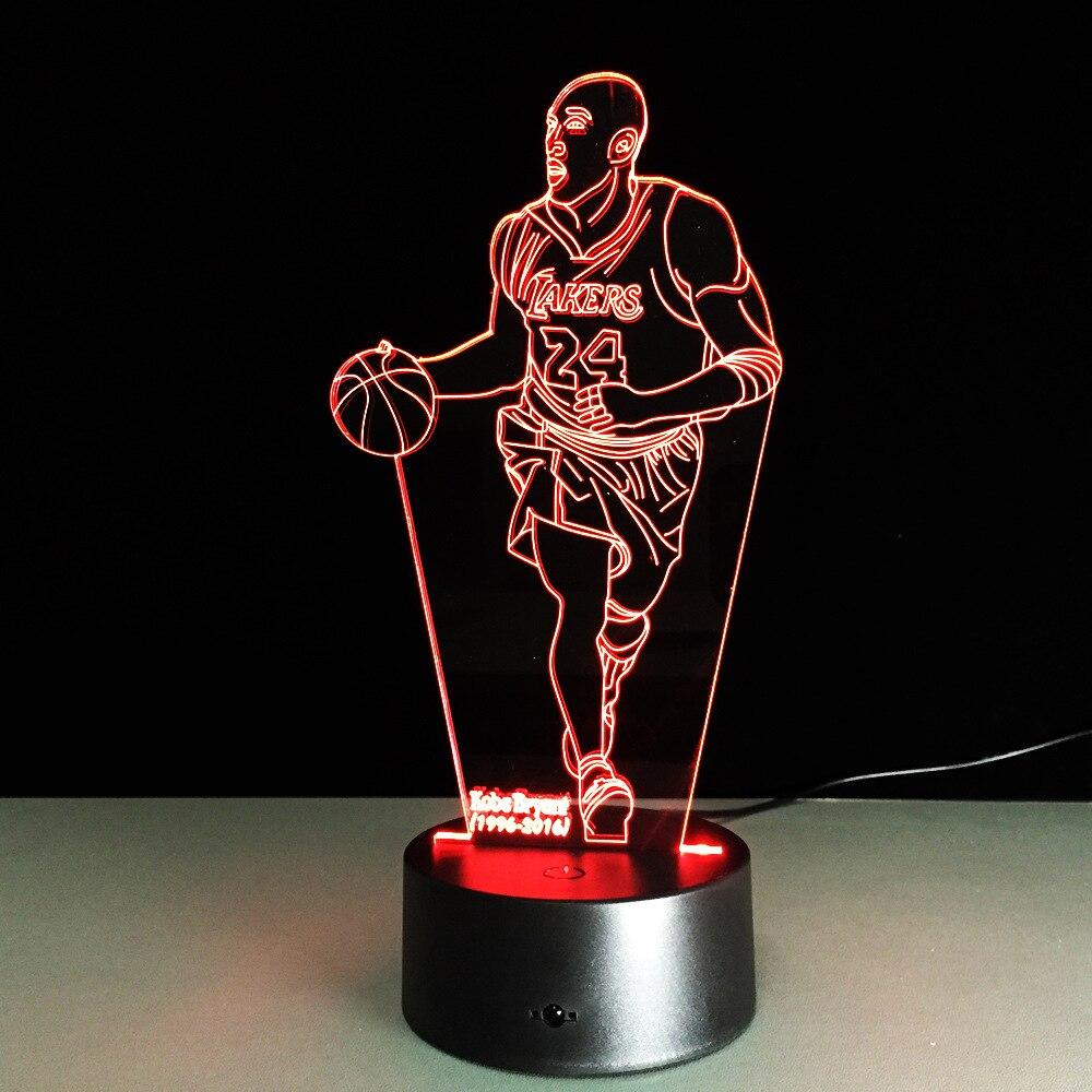 Новейшая Новинка 3D Визуальный акрил свет НБА Коби Брайант Свет в Ночь USB Спальня красочная настольная лампа градиент Атмосфера лампы ...
