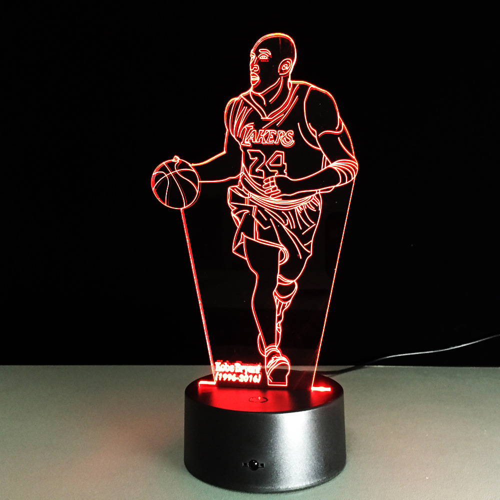 Newest Novelty 3D Visual Acrylic Light NBA Kobe Bryant LED Night Light USB Bedroom Table Lamp Colorful Gradient Atmosphere Lamp ...