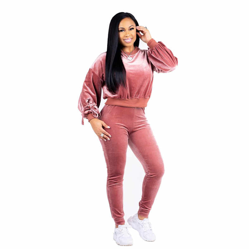 16f28ca7ae2ee Pink Velvet Tracksuits Women Two Piece Set Long Sleeve Top and Pants Suit  Autumn Winter Sportswear