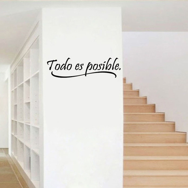 Everything Is Possible Spanish Inspiring Wall Stickers Quote Home Decor  Bedroom Kids Vinyl Wall Mural Decal
