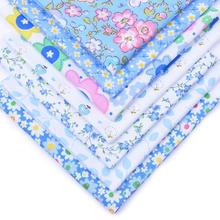 7Pcs 25cmx25cm Multi Syle Blue Floral Cotton Printed Fabric Sewing Quilting Fabrics for Patchwork Needlework Handmade Material