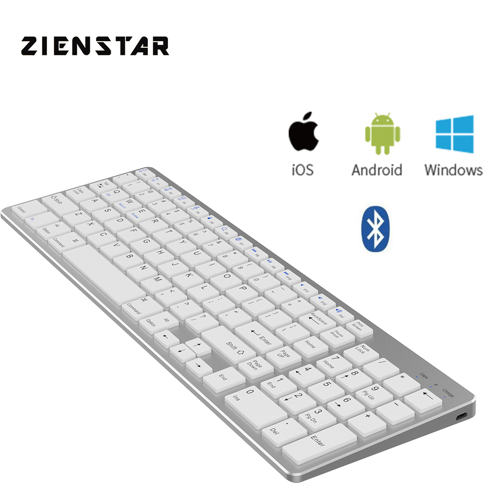 Zienstar Standard Wireless Bluetooth Keyboard for Ipad MACBOOK LAPTOP Computer and Android Tablet Rechargeable Lithium Battery