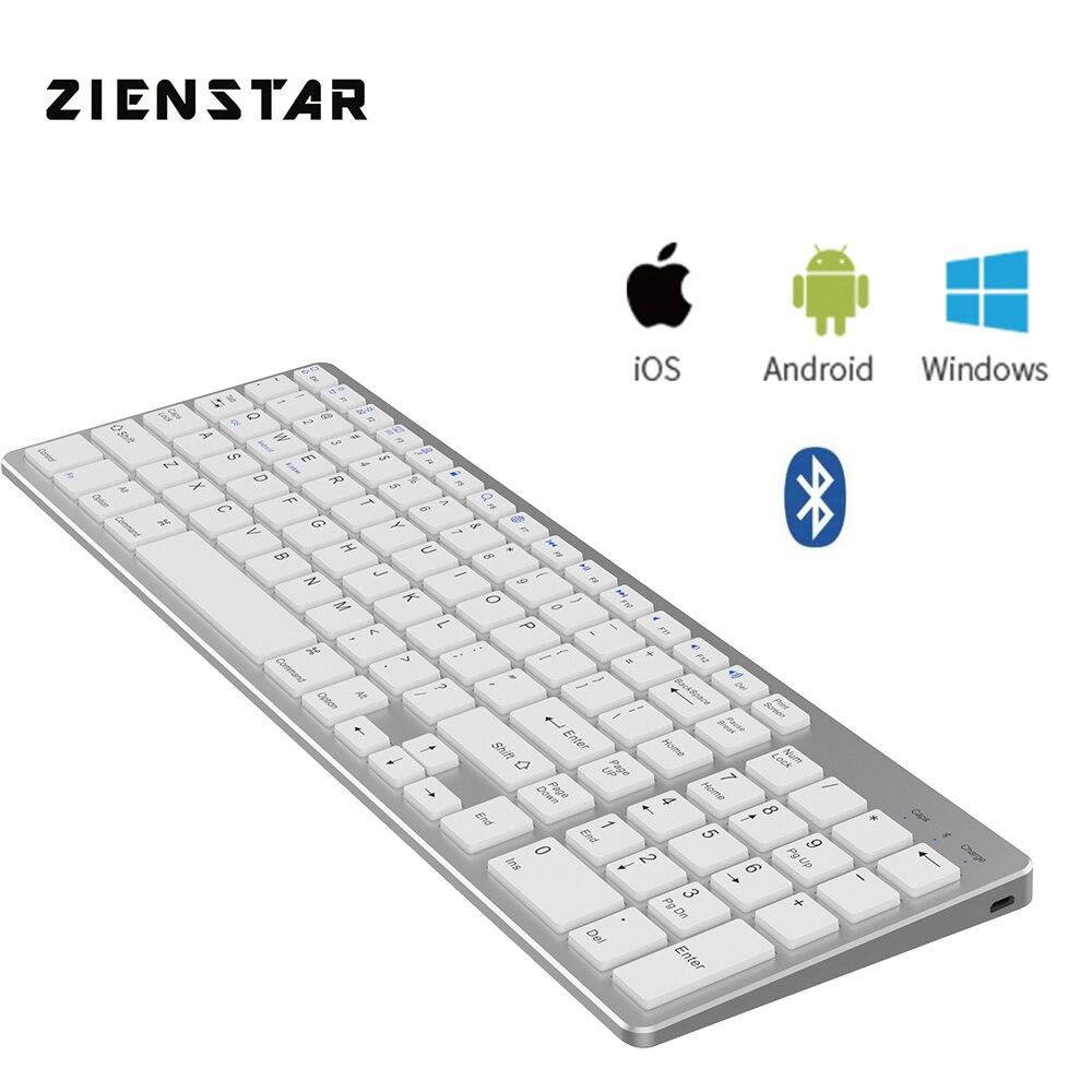 Teclado sem Fio Padrão de Zienstar Bluetooth para Ipad Computador e Tablet Bateria de Lítio Macbook Portátil Android Recarregável