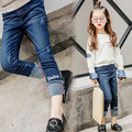 In the spring of 2017 new children embroidered jeans flanging letters girls pants.free shipping