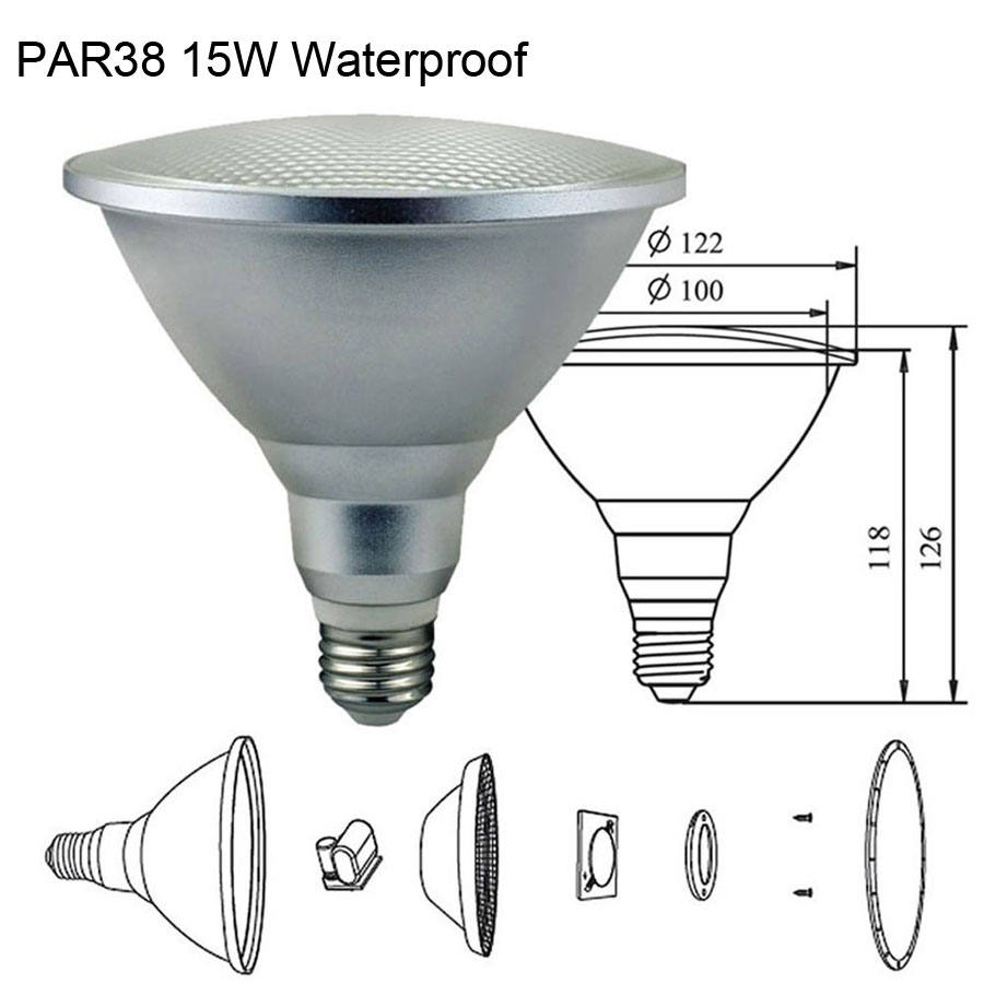 AC 110V 120V 220V LED PAR38 15W Waterproof 3000K 6000K Warm White Cold White E27 LED Bulb Lamp Outdoor IP65 Spotlight Lampad free shipping 20w cob led light par38 e27 spotlight 90 100lm w par38 lamp dimmable led bulb warm cold white ac85v 265v 20pcs lot