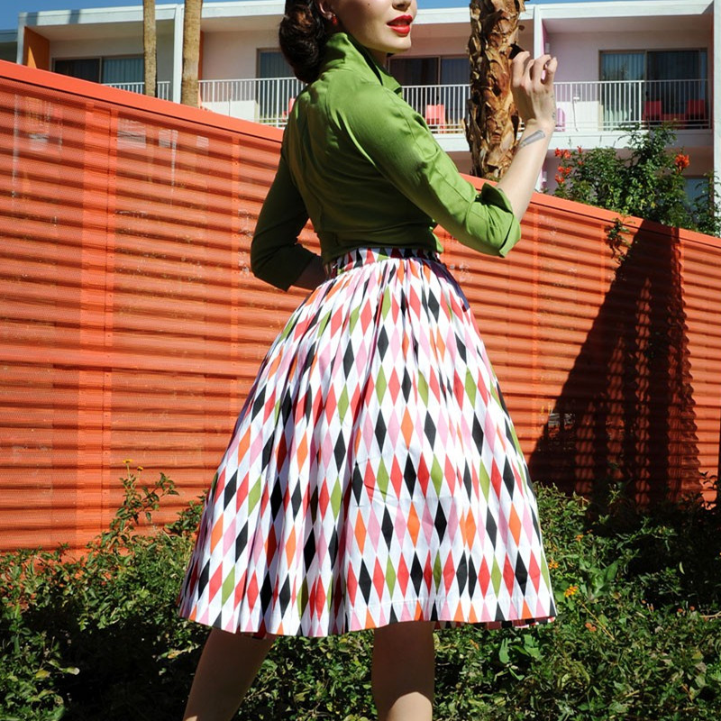 4c46ba4f717 Detail Feedback Questions about 35 women vintage 50s inspired Harlequin  Print swing midi jenny skirt plus size 4xl rockabilly pinup saia skirts  faldas on ...