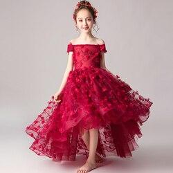 2020 Summer Elegant Children Girls Wine-red Shoulderless Birthday Wedding Party Flowers Prom Dress Kids Teens Host Costume Dress
