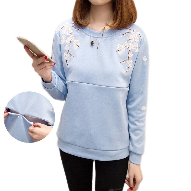 Maternity Tops 2018 Fashion Sweatshirt Print Nursing Top Winter Spring Breastfeeding Clothes Women Embroidery T-Shirt Sweatshirt