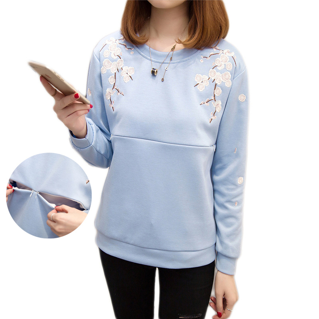 64bd66f80f0 Maternity Tops Fashion Sweatshirt Nursing Top Winter Spring Breastfeeding  Clothes Embroidery T-Shirt Plus Size for Pregnant 2019