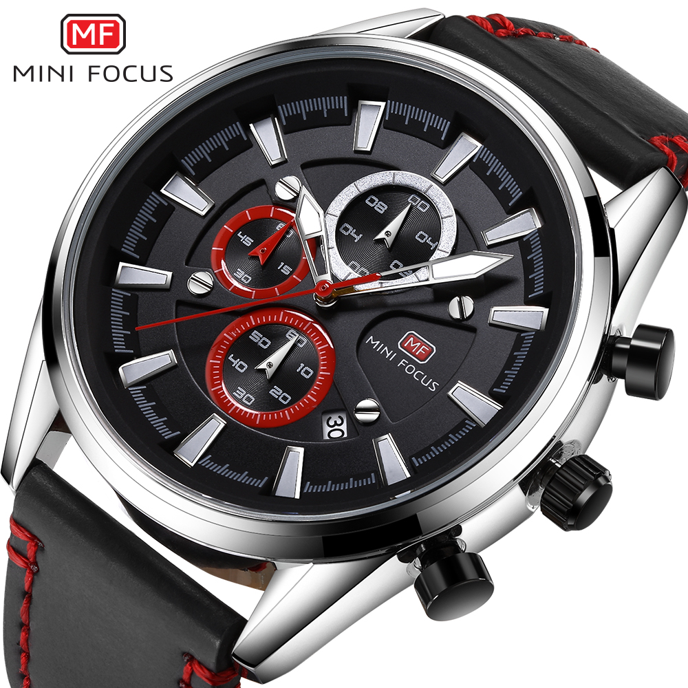 2017 MINI FOCUS Brand Luxury Men Chronograph Sport Watches Men's Quartz Clock Male Leather Army Military Watch relogio masculino top brand luxury chronograph men sports watches stainless steel quartz watch men army military wrist watch male mini focus clock