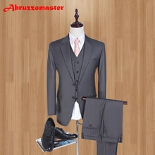 Merk Serge Slim Fit Mannen Pakken Dark Grijs Wedding Suits Voor Beste Mannen 2019 Fashion Smart Casual Heren Smokings (jas + Vest + Broek)(China)