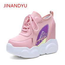 Fashion Women High Platform Shoes 10CM Height Increasing Ladies Sneakers Leather +Mesh Breathable Casual Pink