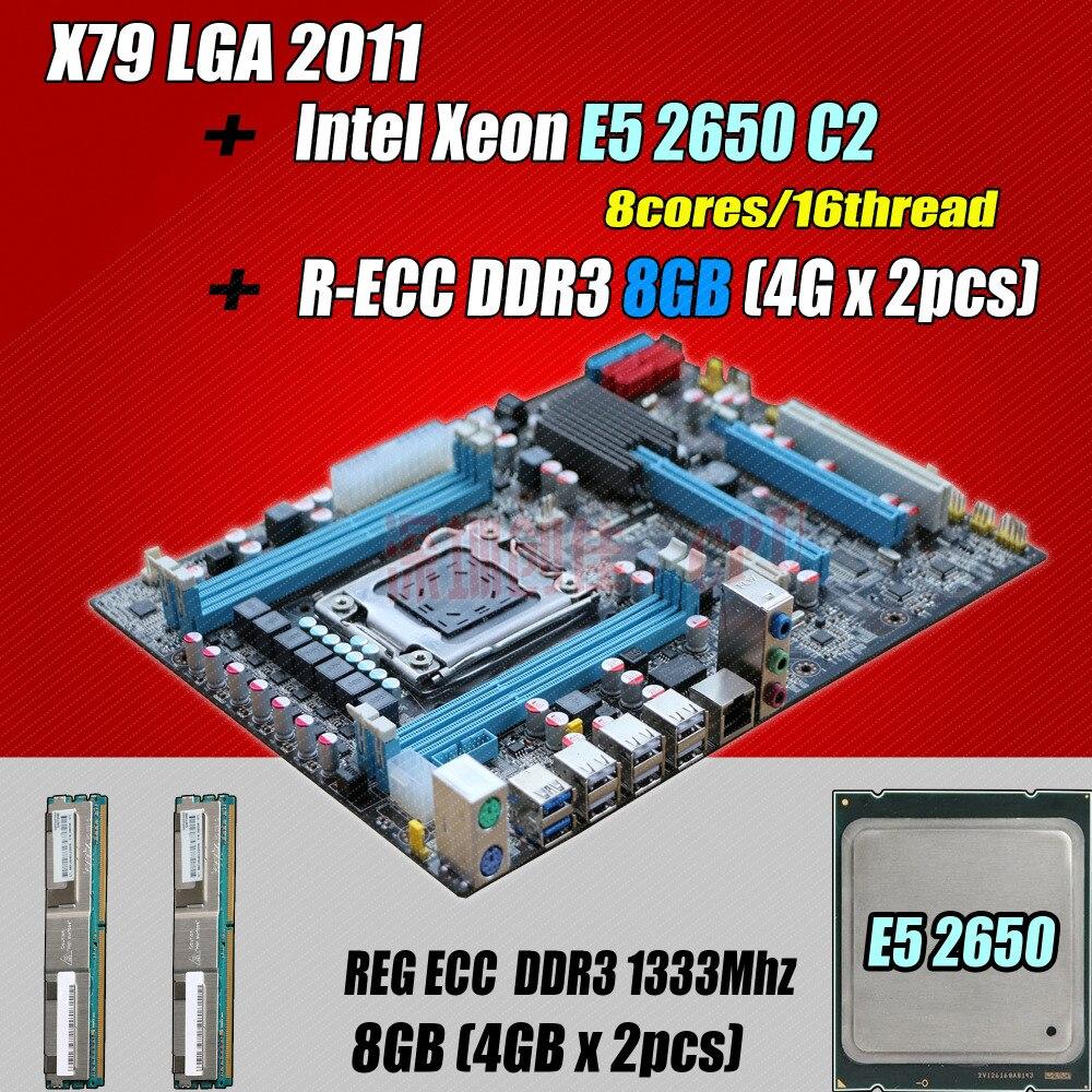 for Intel Xeon X79 motherboard CPU RAM combos LGA 2011 E5 2650 C2 SR0KQ (8 cores/16 threads) memory (2*4G) 8G DDR3 REG ECC