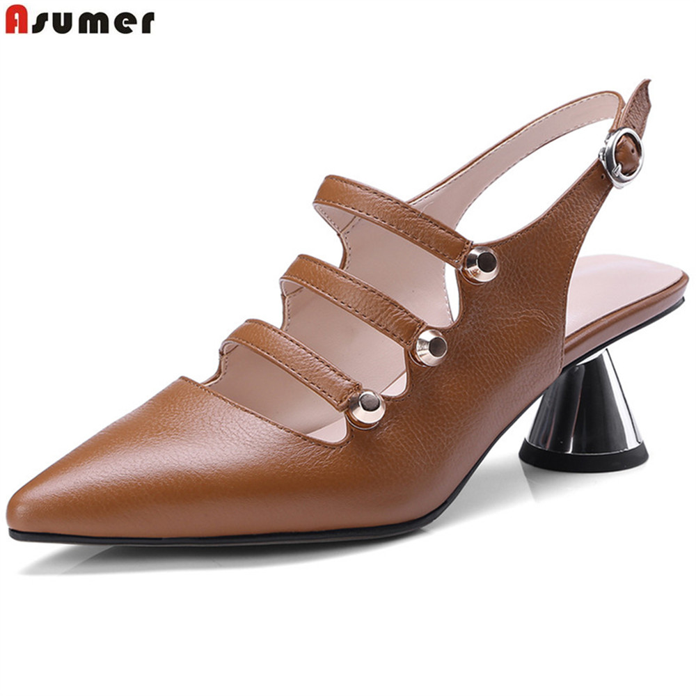 ASUMER black beige fashion spring autumn shoes woman pumps pointed toe buckle classic women genuine leather high heels shoes siketu 2017 free shipping spring and autumn women shoes fashion sex high heels shoes red wedding shoes pumps g107