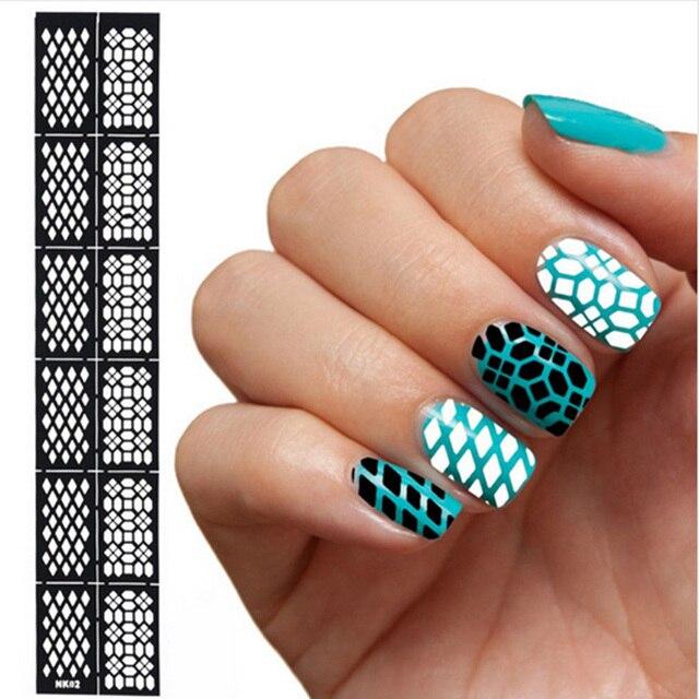 6 Sheets/set Fashion Cute Women Easy Stamping DIY Nail Art Hollow ...