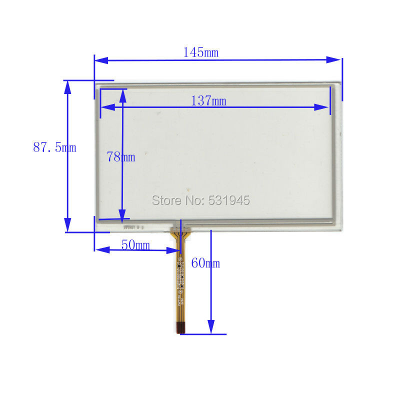 ZhiYuSun New 6 Zoll Touchscreen 145mm * 87mm für 6 GPS GLASS 145 * - Tablet-Zubehör