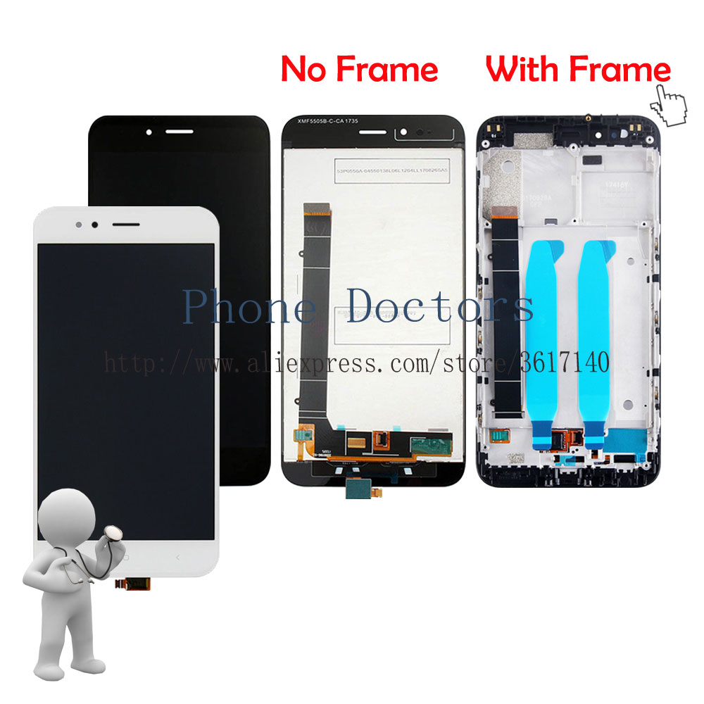 5.5'' New Touch Screen Digitizer Glass + LCD Display Assembly + Frame Cover For Xiaomi Mi A1 MiA1 ; Black /White /Gold ;Tracking