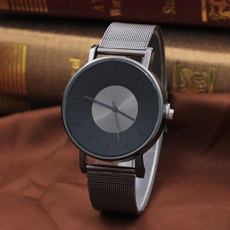 New Arrive Men Women Stainless Steel Strap Analog Quartz Wrist Watch Luxury Simple Style Designed Bracelet Watches Women Clock