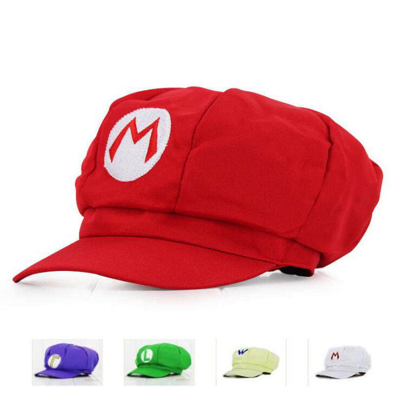 Wholesale  Super Mary Cosplay MARIO cosplay Clothes Halloween Costumes Hat 4 colors