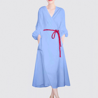 2019 New Asian Style Women Basic Design Puff SleeveSolid 100% Cotton A line Casual Dress With Slash High Quality Classic Dresses