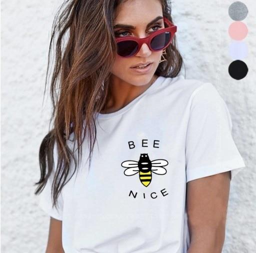 Kuakuayu-XSX Weiß Rosa Bee Art Druck Frauen Kausalen T Hemd Frauen Vegan Tops Natur Liebhaber Imker Hemd Sparen die Erde Tag Top