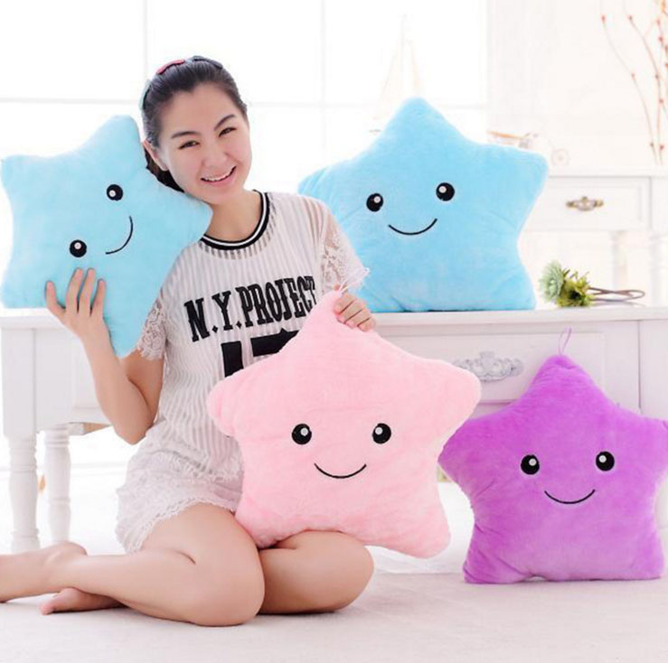 lps Luminous Led Light plush Pillow Colorful Stars for Children Dolls & Stuffed Toys Bear Heart Star Shape Baby Toys Gifts colorful led plush toys with music and sound light emitting pillow high quality dog