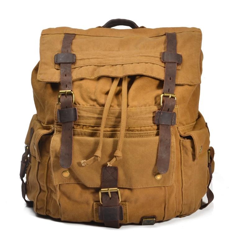Vintage Leather Military Canvas Solid Backpacks Men Women School Backpacks Mael Travel big Cloth Laptop Backpack Large bag fashion canvas backpack casual school backpacks travel bag large capacity rucksacks unisex men women military backpack 1123